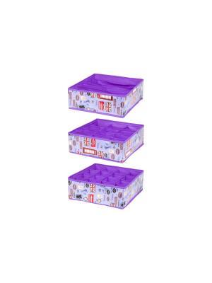Набор 3 кофров для нижнего белья и носков Красочный Лондон EL CASA. Цвет: фиолетовый, красный, сиреневый