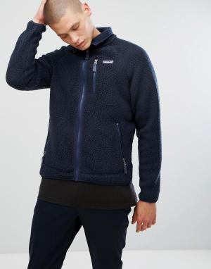 Patagonia Темно-синяя куртка из искусственной цигейки на молнии Retro. Цвет: темно-синий