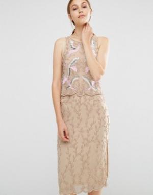 Frock and Frill Платье-футляр 2-в-1 с вышивкой и отделкой бисером. Цвет: розовый