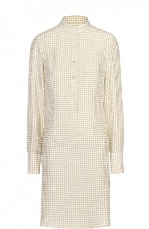 Шелковое платье-рубашка с воротником-стойкой Kiton. Цвет: желтый