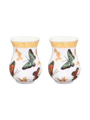 Набор из 2-х вазочек под зубочистки Бабочки Elan Gallery. Цвет: белый, зеленый, красный, золотистый