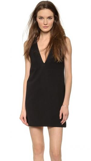 Свободное мини-платье с глубоким V-образным вырезом AD. Цвет: голубой