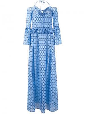 Длинное платье с орнаментом Daizy Shely. Цвет: синий