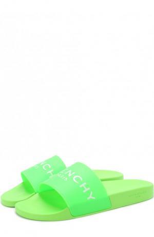 Резиновые шлепанцы с логотипом бренда Givenchy. Цвет: зеленый