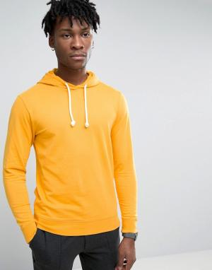 Troy Crew Neck Hoody in Washed Mustard. Цвет: рыжий