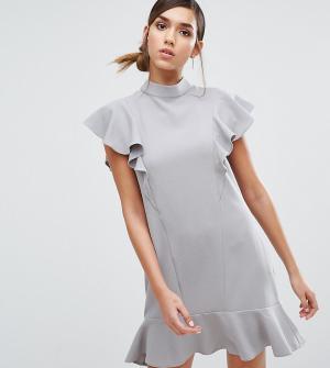 Closet London Платье с оборками и баской. Цвет: серый