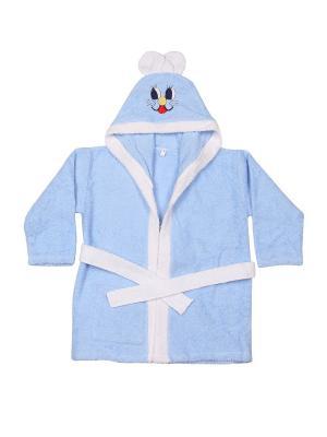 Халат махровый M-BABY. Цвет: голубой