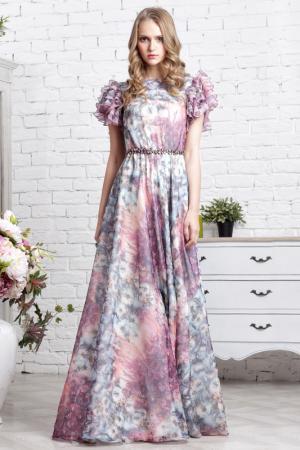 Длинное платье с короткими рукавами To Be Bride. Цвет: лиловый