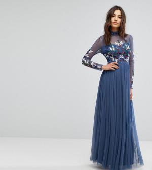 Maya Декорированное платье макси с длинными рукавами и воротником-стойкой M. Цвет: темно-синий