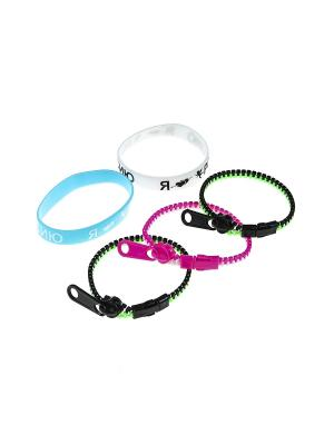 Комплект (Браслет - 5 шт.) Happy Charms Family. Цвет: голубой, розовый, белый, черный, зеленый