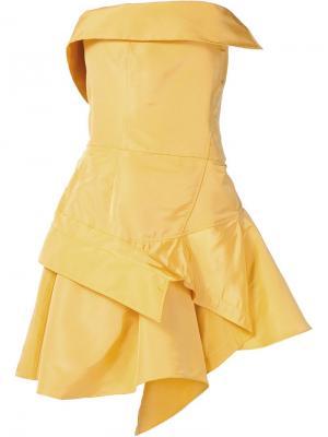 Асимметричное платье без бретелек Monse. Цвет: жёлтый и оранжевый