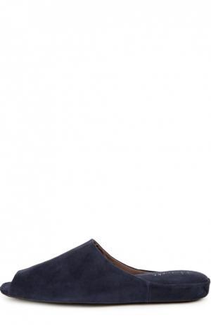 Замшевые домашние туфли с открытым мысом Homers At Home. Цвет: темно-синий