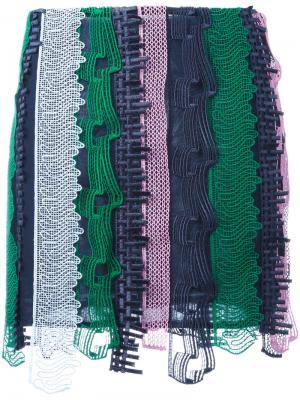 Вышитая мини-юбка в стиле пэчворк Versace. Цвет: многоцветный
