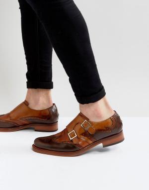 Jeffery West Светло-коричневые кожаные монки Cordioni. Цвет: рыжий