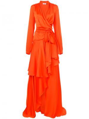 Платье с запахом Patbo. Цвет: жёлтый и оранжевый