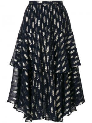 Пышная юбка с принтом Love Shack Fancy. Цвет: синий