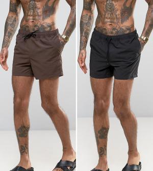 ASOS Набор из 2 пар коротких шортов для плавания (черные/коричневые) -. Цвет: мульти