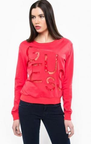 Красный свитшот с кружевными вставками Guess. Цвет: красный
