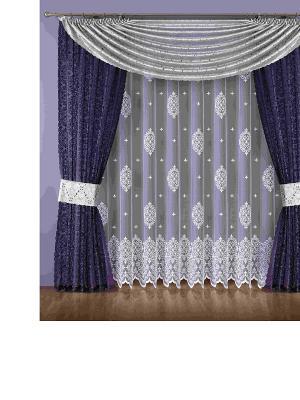 Комплект штор Wisan. Цвет: темно-фиолетовый, белый
