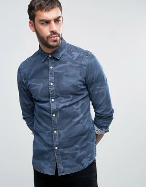 ASOS Джинсовая рубашка суперузкого кроя с камуфляжным принтом. Цвет: серый