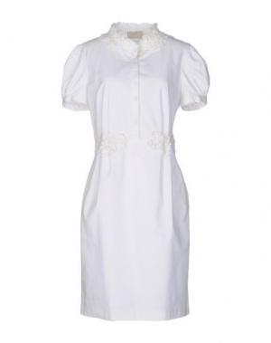 Платье до колена ROBERTA SCARPA. Цвет: белый