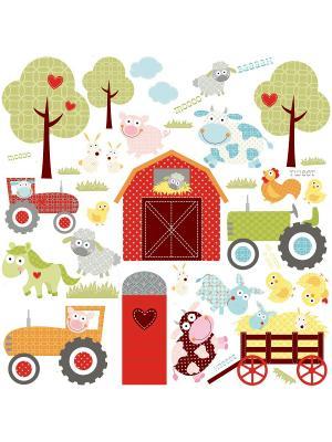 Наклейки для декора. Весёлая ферма ROOMMATES. Цвет: синий, зеленый, белый, черный, серый, голубой, красный, оранжевый, желтый