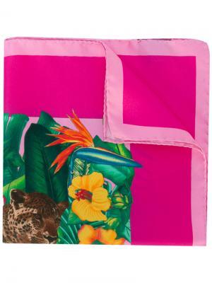 Нагрудный платок с рисунком на тему джунглей Kiton. Цвет: розовый и фиолетовый