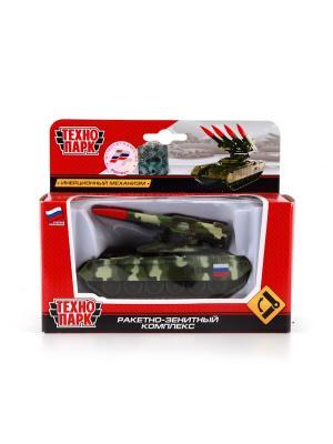Танк Технопарк металлический, инерционный с ракетной установкой.. Цвет: зеленый,черный