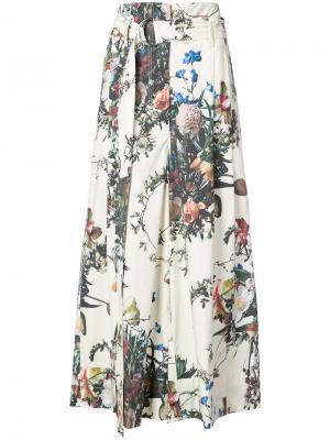 Расклешенные брюки с цветочным принтом Adam Lippes. Цвет: многоцветный