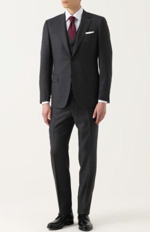 Шерстяной костюм-тройка Canali. Цвет: темно-серый