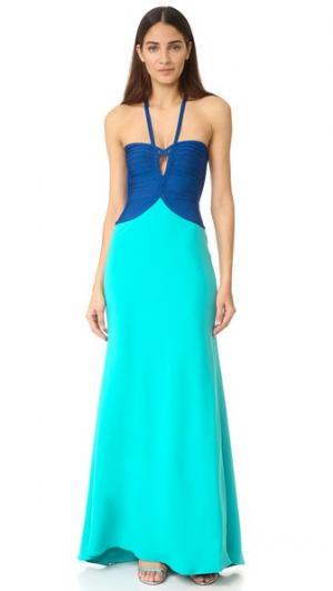 Макси-платье Annabelle Herve Leger. Цвет: кобальтовый комбинированный