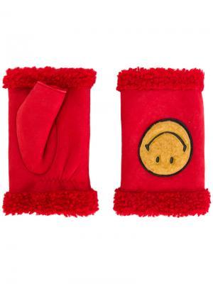 Перчатки-митенки Happy Smiley Agnelle. Цвет: красный