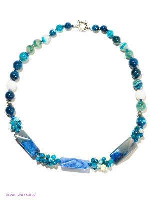 Колье Migura. Цвет: синий, морская волна, молочный, белый