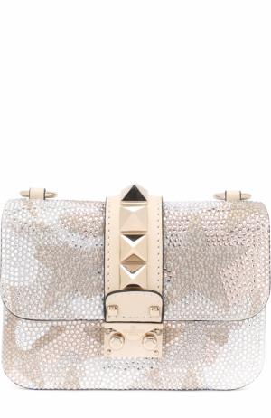 Сумка Glam Lock small с отделкой стразами Valentino. Цвет: белый