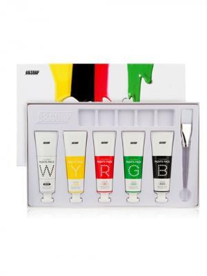 Набор масок для лица (красная, желтая, зеленая, черная, белая) B&SOAP. Цвет: белый