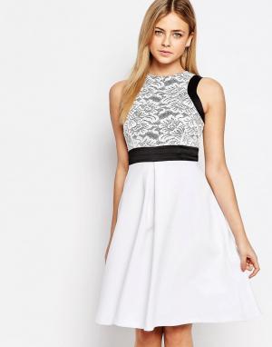 Vesper Приталенное платье миди с кружевным лифом 2 в 1. Цвет: белый