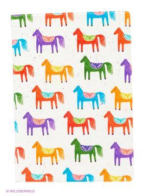 Обложка для автодокументов Цветные лошадки Mitya Veselkov. Цвет: белый, зеленый, фиолетовый, красный