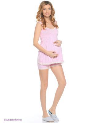 Пижама с шортами Nuova Vita. Цвет: розовый