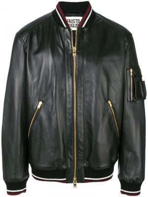 Кожаная куртка-бомбер Fausto Puglisi. Цвет: чёрный