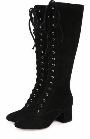 Замшевые сапоги Mackay на шнуровке Gianvito Rossi. Цвет: черный