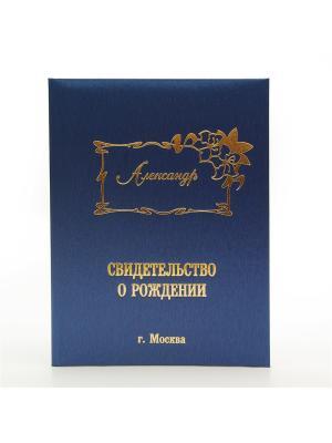Именная обложка для свидетельства о рождении Александр г.Москва Dream Service. Цвет: синий
