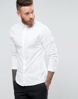 Hoxton Shirt Company Строгая оксфордская рубашка узкого кроя. Цвет: белый