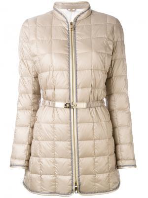 Стеганая куртка с поясом Fay. Цвет: телесный