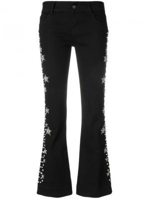 Декорированные укороченные брюки Wandering. Цвет: чёрный