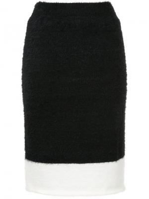 Юбка-миди с контрастной полоской Loveless. Цвет: чёрный