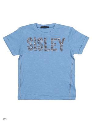 Футболка Sisley Young. Цвет: серо-голубой