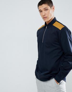 ASOS Рубашка классического кроя с короткой молнией и вставками горчичного ц. Цвет: темно-синий