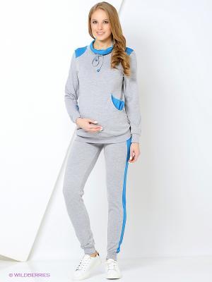 Костюм для беременных ( толстовка,брюки) 40 недель. Цвет: серо-голубой