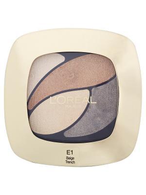 Тени для век Color Riche, Квадро, оттенок E1, Бежевый тренч, 4,5 г L'Oreal Paris. Цвет: бежевый
