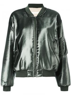 Шелковая куртка-бомбер Ssheena. Цвет: зелёный